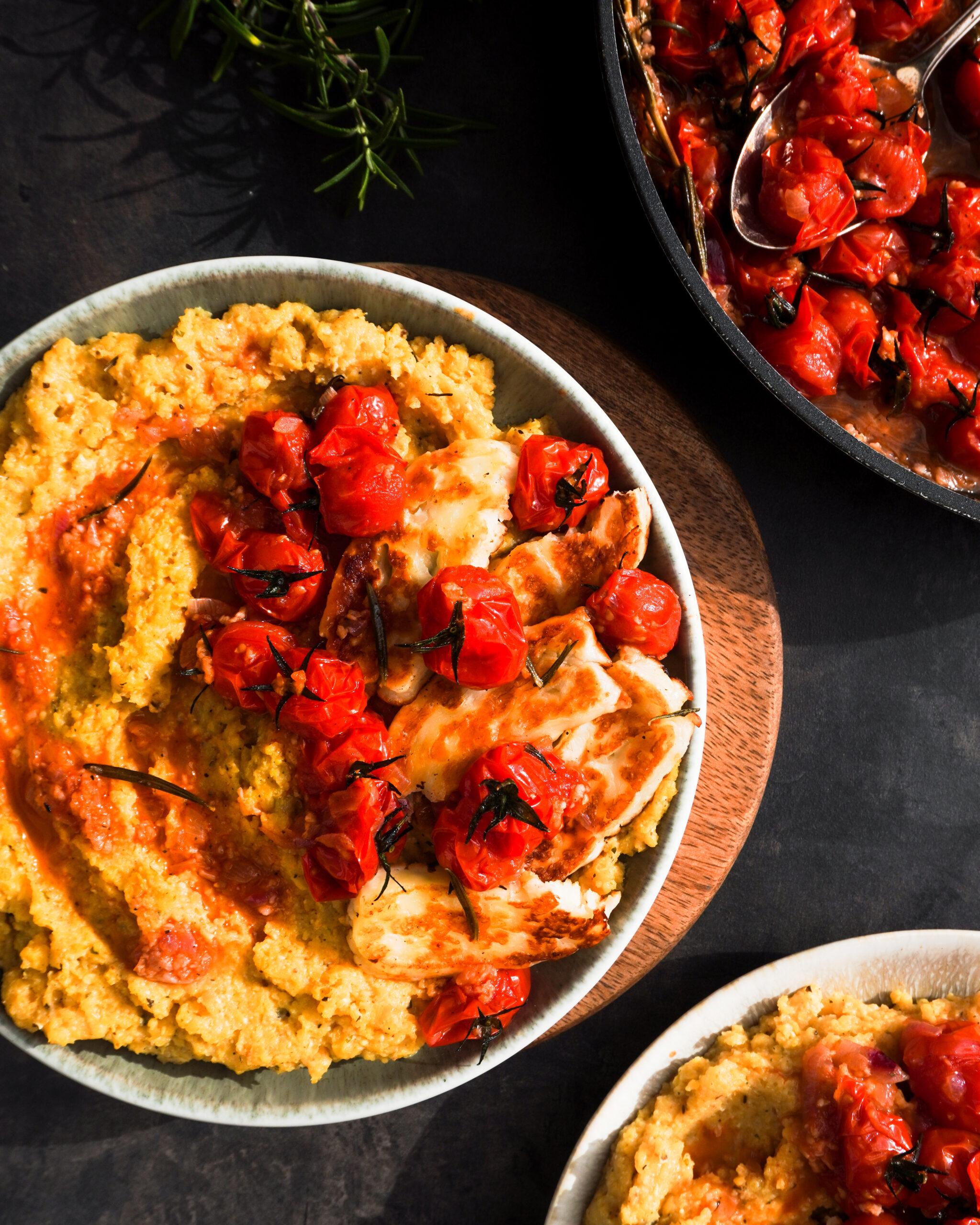 Polenta With Cherry Tomatoes & Halloumi