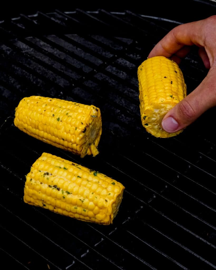 Then remove the corn from the grill and serve.