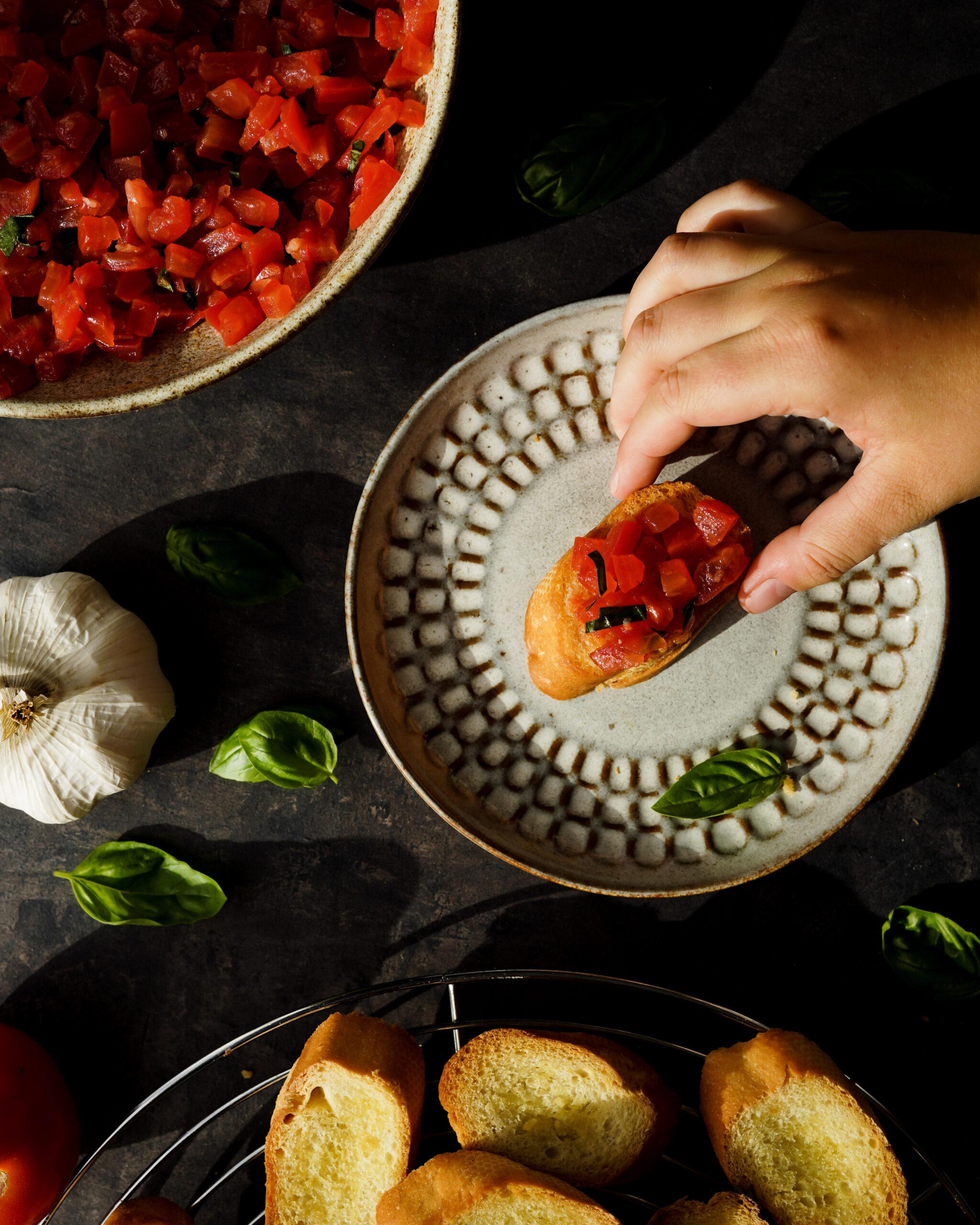 Simple Tomato Bruschetta With Basil